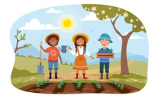 Three Young Children Working In A Garden Together Planting Rows Of Spring Vegetables Standing Smiling At The Viewer, Colored Vector Illustration