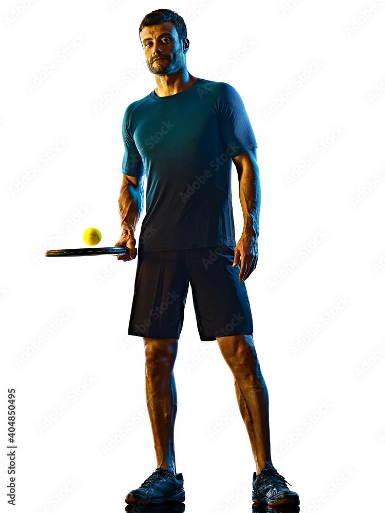 Obraz one caucasian mature man Tennis Player shadow silhouette in studio isolated on white background fototapeta, plakat
