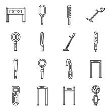 Metal Detector Alarm Icons Set. Outline Set Of Metal Detector Alarm Vector Icons For Web Design Isolated On White Background