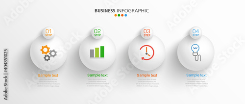 Fototapeta Vector business infographic design template with icons and 4 options or steps. Can be used for presentations banner, workflow layout, process diagram, flow chart, info graph obraz