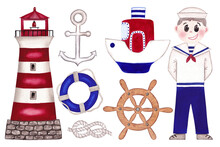 Set Of Cute Nautical Illustrations. Hand Painted Watercolor Illustrations. Light House, Sailor Man, Anchor, Ship, Life Ring, Steering Wheel And Nautical Knots.