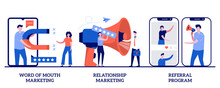 Word Of Mouth, Relationship Marketing, Referral Program Concept With Tiny People. Customer Oriented Strategy Abstract Vector Illustration Set. Recommendation, Brand Loyalty, Social Media Metaphor