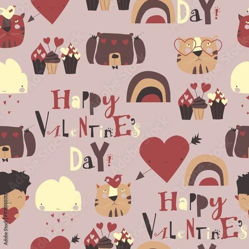 Obraz Seamless pattern with Valentines Day elements on white background - fototapety do salonu
