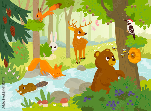 Cartoon vector animals that live in the forest. Forest fauna. Forest inhabitants. Bear looking for honey. Woodpecker hollows the hollow.