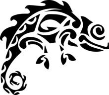 Beautiful Isolated On The White Background Tribal Tattoo Vector Illustration With Black Stylized Chameleon Silhouette