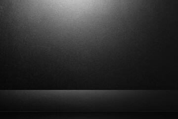 Black abstract cement wall and studio room , interior texture for display products. wall background.
