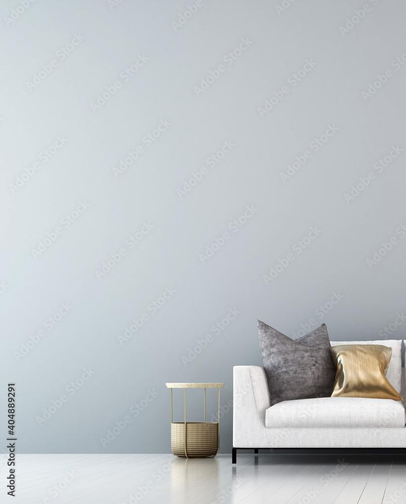 Fototapeta Minimal living room interior mock up, and empty white wall background, Scandinavian style, 3d render