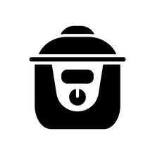 Slow Cooking Crock Pot Vector Glyph Icon
