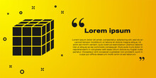 Black Rubik Cube Icon Isolated On Yellow Background. Mechanical Puzzle Toy. Rubik's Cube 3d Combination Puzzle. Vector.