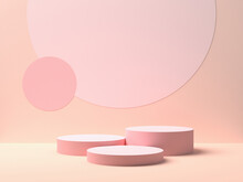 Pink Podium On Pink Color Background For Product. Minimal Concept. 3d Rendering