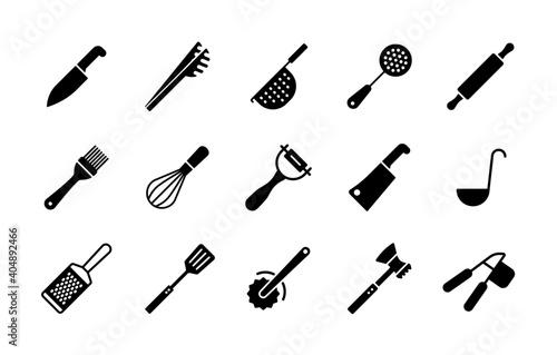 Fotografering Kitchenware and kitchen vector icon glyph set