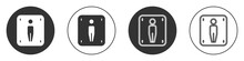 Black Male Toilet Icon Isolated On White Background. WC Sign. Washroom. Circle Button. Vector.