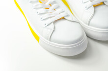 White Sneakers With Yellow Accents, Classic Sports Shoes