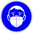 Leinwandbild Motiv shas672 SignHealthAndSafety shas - german - Gebotszeichen in blau - FFP2 Maskenpflicht. - englisch: mandatory sign - FFP2 respirator - round blue g10121
