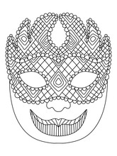 Mardi Gras Carnival Jester Venetian Mask Coloring Page Vector. Fat Tuesday Festival Joker Character Black Outline Isolated On White. Funny Ornamental Masquerade Face Black And White Illustration