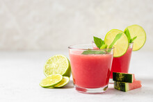 Refreshing Watermelon Lime Mint Smoothie. Space For Text.