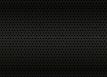 Dark Metal Background. Black Industrial Texture Backdrop. Metal Grid With Holes. Metal Sheet With Dots Pattern. Vector
