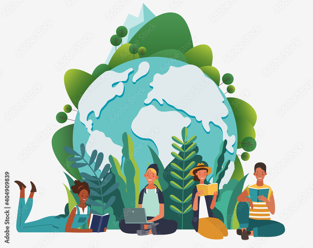 Fototapeta Young people group reading books. Study, learning knowledge and education vector concept. Eco friendly ecology poster. Nature conservation illustration