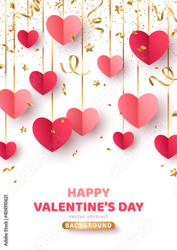 Obraz Happy Saint Valentine's day card, hanging red and pink paper cut hearts with gold streamers and confetti on white background. Decorative holiday banner, festive poster, romantic flyer, brochure. - fototapety do salonu