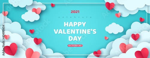 Fototapeta Horizontal banner with paper cut clouds and flying hearts in blue sky, papercut craft art. Place for text. Happy Valentines day sale concept, voucher template with square frame. obraz