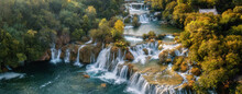 Amazing Nature Landscape, Aerial View Of The Beautiful Waterfall Cascade, Famous Skradinski Buk, One Of The Most Beautiful Waterfalls In Europe And The Biggest In Croatia, Outdoor Travel Background
