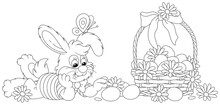 Happy Little Bunny And A Wicker Basket Of Easter Eggs Decorated With Flowers And A Ribbon Bow, Black And White Outline Vector Cartoon Illustration For A Coloring Book Page