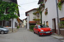 A Residential Backstreet In Tolmin In The Primorska Region Of Western Slovenia