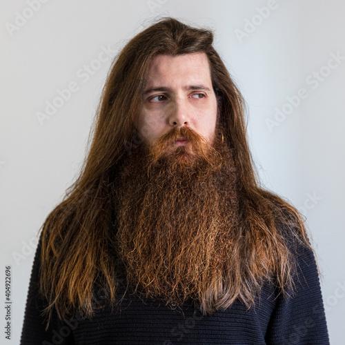 Obraz na plátně barbone , barba, ritratto, capelli, giovane, faccia, bella, bellezza, persone, p