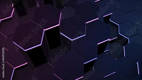 Canvastavla Dark black hex grid background, abstract background