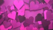 canvas print picture - Closeup romantic small pink hearts on Valentines day shiny background