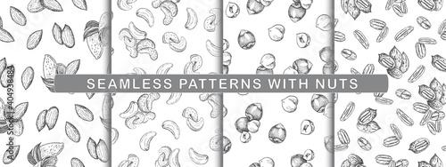 Fototapeta Set of seamless pattern with nuts. Line art style. obraz