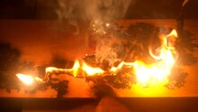The Fire Burns On The Board After A Short Circuit. Lichtenberg Figures. Wood Engravings.