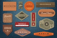 Denim Labels. Graphic Leather Badge And Textured Background, Authentic Embroidery Typography Jeans Clothes Fashion Print, Vintage Emblems With Text Retro Western Stickers, Vector Isolated Set