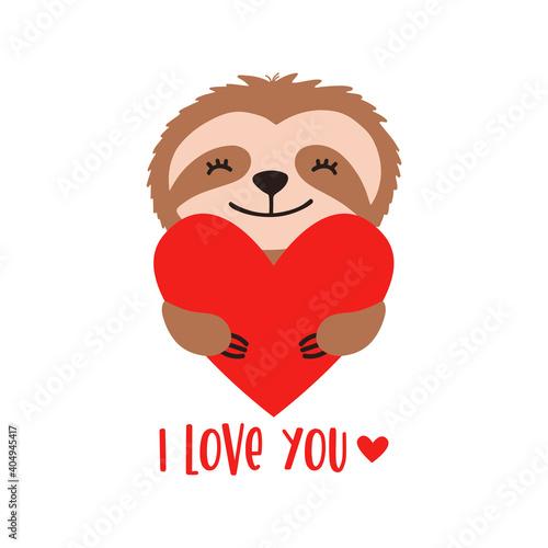Fototapeta premium Cute sloth bear with heart and text - I love you.