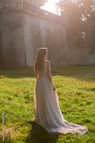 Fotografie, Obraz Beautiful bride in the luxurious wedding dress looking to the side in front of old wall at the sunset