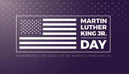Fototapeta Boks Martin Luther King Jr Day lettering and USA flag - vector illustration