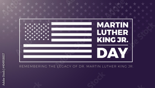 Fotografía Martin Luther King Jr Day lettering and USA flag - vector illustration