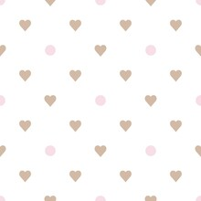Pastel Color Geometric Seamless Vector Patterns. Pink Polka Dots, Beige Hearts On A White Background. Simple Print For Little Girls: Fabric, Wrapping Paper, Notepad, Background, Cover,  Textiles,etс