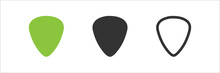 Pick Set Icon In Flat Style. Guitar Mediator Logo. Vector Isolated