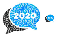 2020 Chat Messages Composition Of Round Dots In Variable Sizes And Color Hues. Vector Round Elements Are Composed Into 2020 Chat Messages Composition.