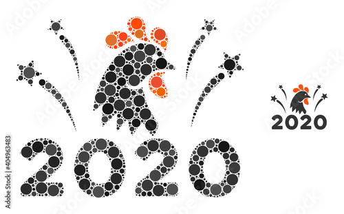 Valokuvatapetti 2020 rooster fireworks composition of round dots in variable sizes and color tones
