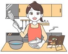 料理 泡立てる 女性