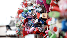 Close-up Of Multi Colored Love Locks