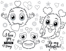 Coloring Book Page For Valentine's Day- Coloring Page- Black And White Cartoon Illustration - Valentine Coloring Book