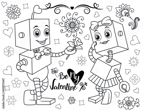 Coloring Book Page For Valentine's Day- Coloring Page- Black And White  Cartoon Illustration - Valentine Coloring Book - Buy This Stock Vector And  Explore Similar Vectors At Adobe Stock Adobe Stock