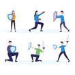 people with swords and shields icon set, colorful design