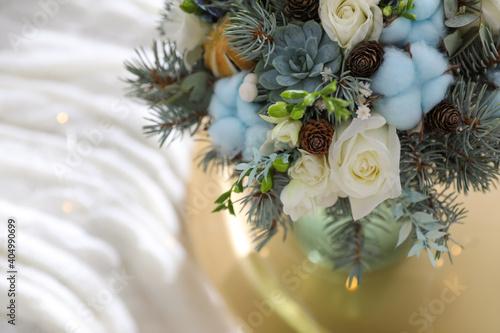 Fotografie, Obraz Beautiful wedding winter bouquet on table, closeup