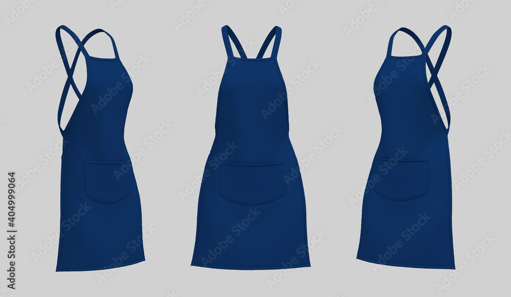 Fototapeta Blank  aprons, apron mockup, clean apron, design presentation for print, 3d illustration, 3d rendering