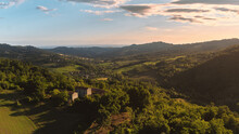 Aerial View Of A Hills Landscape In Rossoreggio, Emilia-Romagna, Italy.