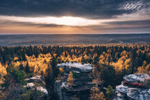 Aerial View Of People On The Top Of Stone In The Forest, Usva, Perm Krai, Russia